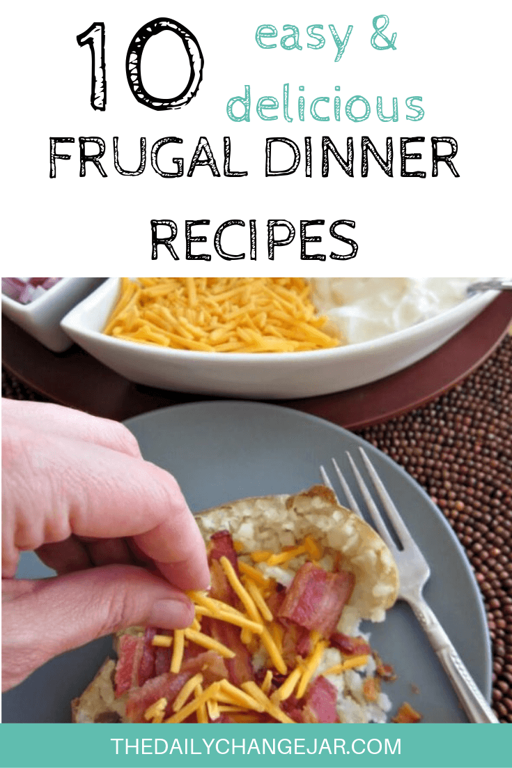 10 easy and delicious frugal dinner recipes-baked potato bar. Food makes up a lot of our budgets. But what do you do when money is really tight? Here are 10 frugal meals to make when you're broke. #frugalmeals #frugalmealshealthy #frugalmealsforfour #frugalmealsfortwo #frugalmealsforlargefamilies #frugalmealsandsnacks #frugaldinners #frugaldinnersfamilies #frugaldinnerssavingmoney #frugaldinnersfor4 #frugaldinnersrecipes #frugaldinnersvegan