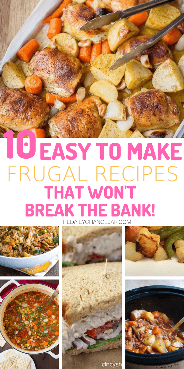 10 easy to make frugal recipes that won't break the bank. Food makes up a lot of our budgets. But what do you do when money is really tight? Here are 10 frugal meals to make when you're broke. #frugalmeals #frugalmealshealthy #frugalmealsforfour #frugalmealsfortwo #frugalmealsforlargefamilies #frugalmealsandsnacks #frugaldinners #frugaldinnersfamilies #frugaldinnerssavingmoney #frugaldinnersfor4 #frugaldinnersrecipes #frugaldinnersvegan