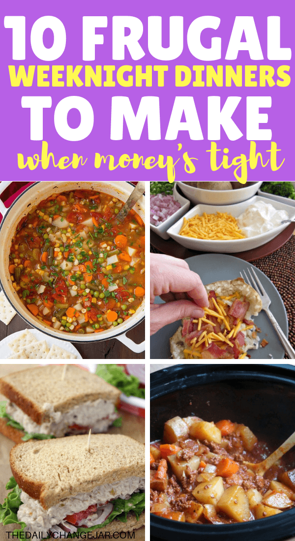 10 frugal weeknight dinners to make when money is too tight. Food makes up a lot of our budgets. But what do you do when money is really tight? Here are 10 frugal meals to make when you're broke. #frugalmeals #frugalmealshealthy #frugalmealsforfour #frugalmealsfortwo #frugalmealsforlargefamilies #frugalmealsandsnacks #frugaldinners #frugaldinnersfamilies #frugaldinnerssavingmoney #frugaldinnersfor4 #frugaldinnersrecipes #frugaldinnersvegan