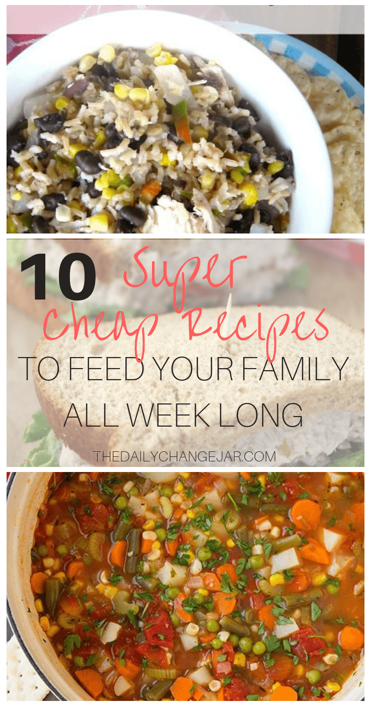 10 super cheap recipes to feed your family all week long. Food makes up a lot of our budgets. But what do you do when money is really tight? Here are 10 frugal meals to make when you're broke. #frugalmeals #frugalmealshealthy #frugalmealsforfour #frugalmealsfortwo #frugalmealsforlargefamilies #frugalmealsandsnacks #frugaldinners #frugaldinnersfamilies #frugaldinnerssavingmoney #frugaldinnersfor4 #frugaldinnersrecipes #frugaldinnersvegan