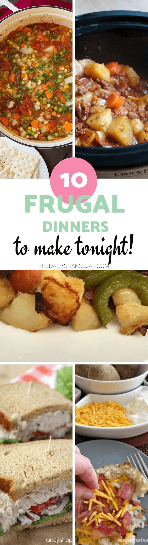 10 frugal dinners to make tonight. Food makes up a lot of our budgets. But what do you do when money is really tight? Here are 10 frugal meals to make when you're broke. #frugalmeals #frugalmealshealthy #frugalmealsforfour #frugalmealsfortwo #frugalmealsforlargefamilies #frugalmealsandsnacks #frugaldinners #frugaldinnersfamilies #frugaldinnerssavingmoney #frugaldinnersfor4 #frugaldinnersrecipes #frugaldinnersvegan