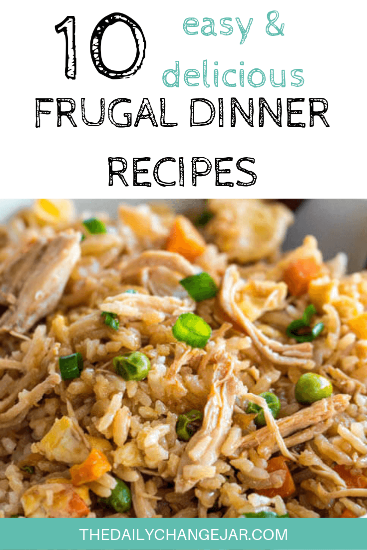10 easy and delicious frugal dinner recipes-chicken fried rice. Food makes up a lot of our budgets. But what do you do when money is really tight? Here are 10 frugal meals to make when you're broke. #frugalmeals #frugalmealshealthy #frugalmealsforfour #frugalmealsfortwo #frugalmealsforlargefamilies #frugalmealsandsnacks #frugaldinners #frugaldinnersfamilies #frugaldinnerssavingmoney #frugaldinnersfor4 #frugaldinnersrecipes #frugaldinnersvegan