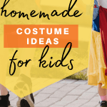 dad and child trick or treating with snow white costume