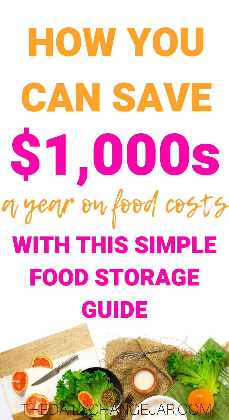 How to save $1,000's a year on food costs with this simple food storage guide. Don't waste your hard earned money on food, prevent food spoilage with this handy chart! #preventfoodspoilage #savemoneyongroceries #frugalmeals #mealplanning #properfoodstorage #preventingspoilage #howtostorefruitsandvegetables