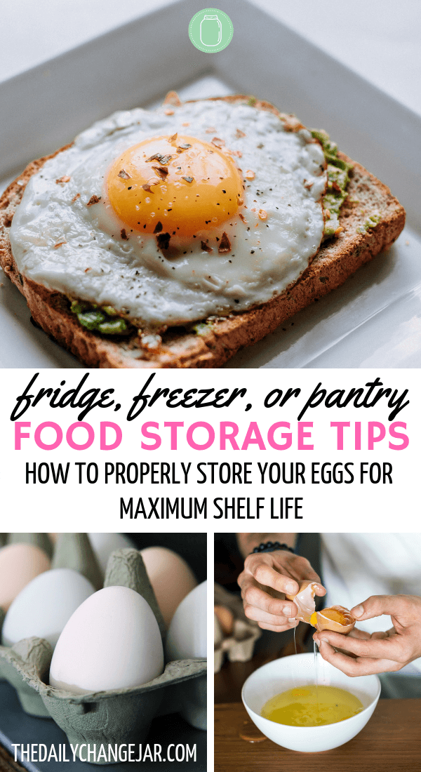 Fridge, freezer, or pantry, food storagae tips, how to properly store your eggs for maximum shelf life. Don't waste your hard earned money on food, prevent food spoilage with this handy chart! #preventfoodspoilage #savemoneyongroceries #frugalmeals #mealplanning #properfoodstorage #preventingspoilage #howtostorefruitsandvegetables