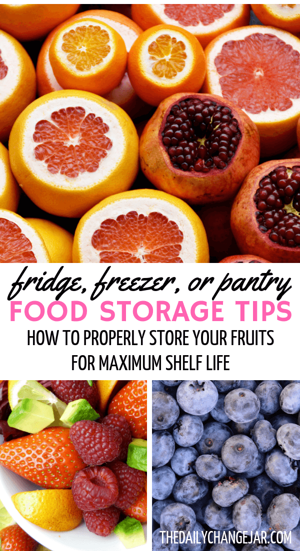 Fridge, freezer, or pantry, food storagae tips, how to properly store your fruits for maximum shelf life. Don't waste your hard earned money on food, prevent food spoilage with this handy chart! #preventfoodspoilage #savemoneyongroceries #frugalmeals #mealplanning #properfoodstorage #preventingspoilage #howtostorefruitsandvegetables