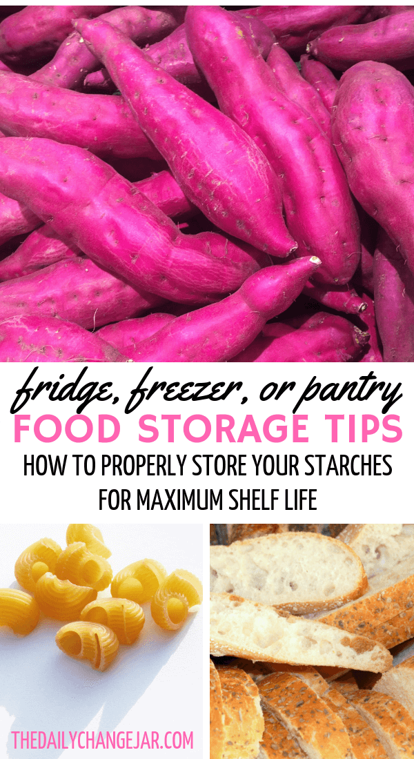 Fridge, freezer, or pantry, food storage tips, how to properly store your starches for maximum shelf life. Don't waste your hard earned money on food, prevent food spoilage with this handy chart! #preventfoodspoilage #savemoneyongroceries #frugalmeals #mealplanning #properfoodstorage #preventingspoilage #howtostorefruitsandvegetables