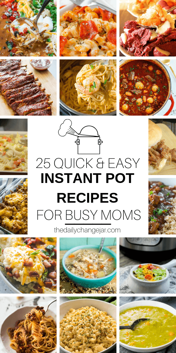 Short on time to make dinner? With a few key kitchen staples, you can whip up these easy Instant Pot dinners in no time! Click to see which 25 of these easy recipes you can make tonight! #instantpotdinnerseasy #howtoinstantpotrecipes #instantpotrecipesforbeginners #instantpotrecipesthatarekidfriendly #instantpotrecipestotryfirst #instantpotrecipesdinner #instantpotrecipesdump #instantpotrecipesonepot #instantpotrecipesonabudget #instantpotrecipesmaindish #instantpotrecipesofficial #quickandeasyrecipes