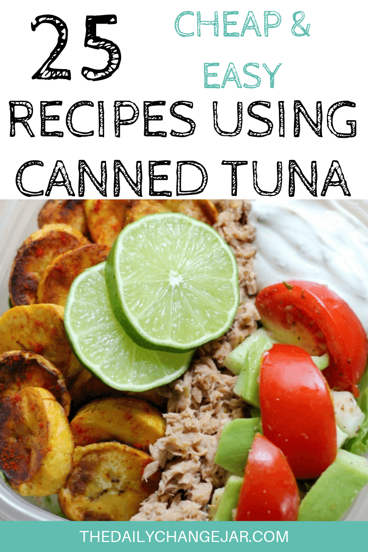 Tuna can be a cheap staple food packed full of goodness. But what can you make besides a basic tuna sandwich? Here are 25 cheap and easy recipes using canned tuna. Click the image to see all 25 frugal recipes! #frugalmeals #recipesusingcannedtuna #cannedtuna #cannedtunadinners #recipesusingcannedfish #tunapatties #easycannedtunarecipes #healthycannedtunarecipes
