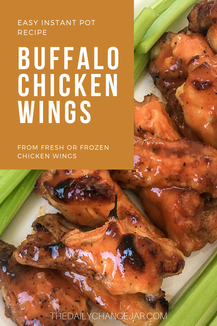 Instant Pot Buffalo Chicken Wings made from fresh or frozen chicken wings, are super tender and juicy! Smothered in tasty Buffalo sauce and broiled until nice and crispy. #Buffalo #pressurecookerrecipe #frozen #easy #best #instantpot #crispy