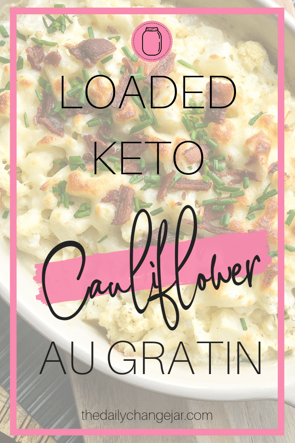 You would never know this Loaded Cauliflower Au Gratin Recipe is actually good for you! This low carb keto recipe will quickly become a favorite and have your taste buds singing! #keto #ketorecipes #sidedish #cauliflower #thanksgiving