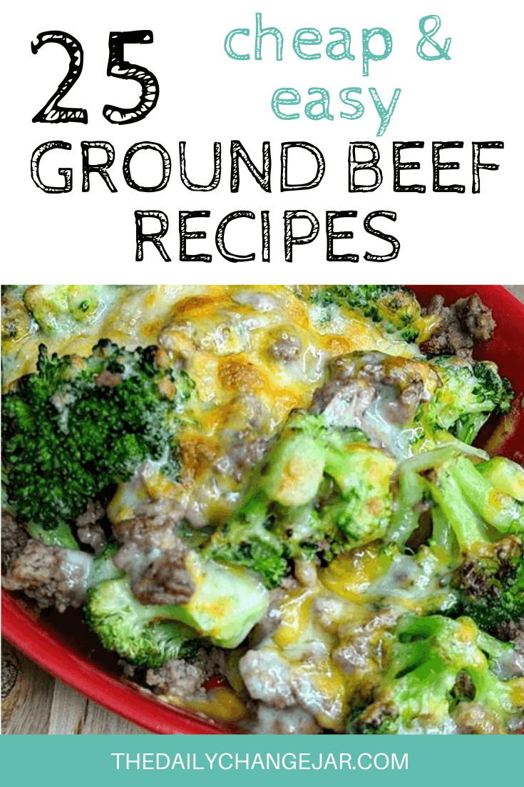 Looking for some cheap dinner ideas to feed your whole family? Look no further than these frugal ground beef recipes! Click here to see all 25+ simple ground beef recipe ideas! #groundbeefrecipesfordinner #healthygroundbeefrecipes #groundbeefcassarole #easygroundbeefrecipes #groundbeefrecipesfortwo #crockopt #keto #lowcarb #instantpot