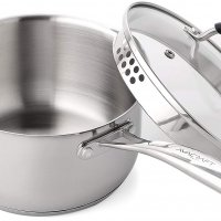 Stainless Steel Saucepan with Glass Lid, Strainer Lid