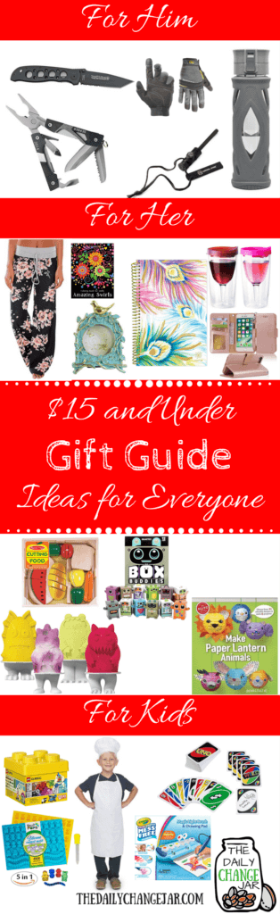 Do you need gift ideas for everyone in your family? Here is a list of 50 gift ideas for $15 or less for him, her, and the kids. Click the image to check out the list of 50 gift ideas for everyone on your list! gift guides, for him, 2016, holiday, favorite things, teenager, 2017, christmas, for her, kids, women, for girls, mom, email, under $25, design, dad, best firiend, sister, grandma, for teens, birthday, preppy, editorial, magazine, layout, mens, for parents, travel, college, boys, toddler, fitness, amazon, brother, foodie, under 50, boyfriend, grandparents, tech, for couples, fashion, ideas, ultimate, vegan, photography, newsletter, luxury, mum, creative,