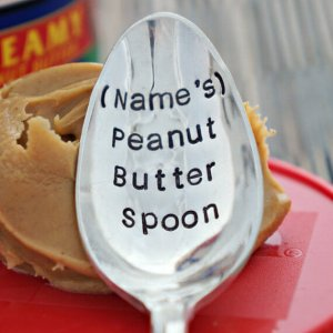 Stamped Spoon, Personalized Peanut Butter Spoon, unique foodie gift, gift for peanut butter lover, peanut butter spoon, stamped flatware