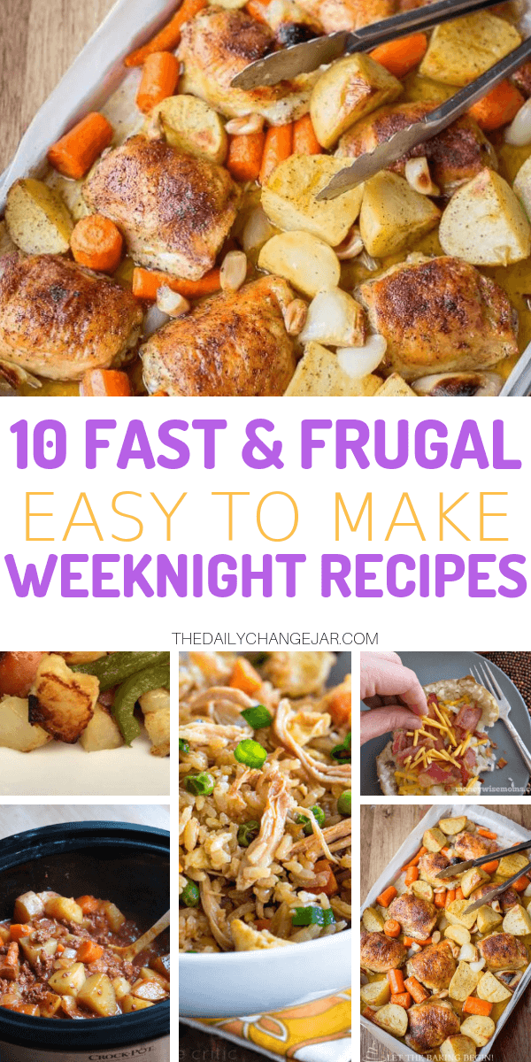 10 fast and frugal easy to make recipes for busy weeknights. Food makes up a lot of our budgets. But what do you do when money is really tight? Here are 10 frugal meals to make when you're broke. #frugalmeals #frugalmealshealthy #frugalmealsforfour #frugalmealsfortwo #frugalmealsforlargefamilies #frugalmealsandsnacks #frugaldinners #frugaldinnersfamilies #frugaldinnerssavingmoney #frugaldinnersfor4 #frugaldinnersrecipes #frugaldinnersvegan