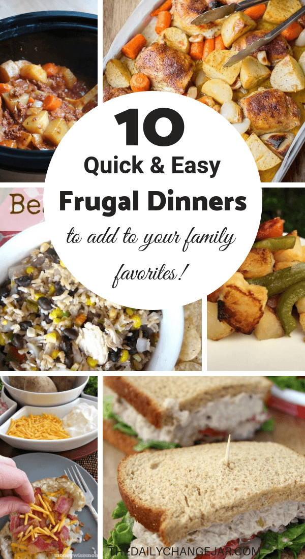 10 quick and easy frugal dinners to add to your family favorites. Food makes up a lot of our budgets. But what do you do when money is really tight? Here are 10 frugal meals to make when you're broke. #frugalmeals #frugalmealshealthy #frugalmealsforfour #frugalmealsfortwo #frugalmealsforlargefamilies #frugalmealsandsnacks #frugaldinners #frugaldinnersfamilies #frugaldinnerssavingmoney #frugaldinnersfor4 #frugaldinnersrecipes #frugaldinnersvegan
