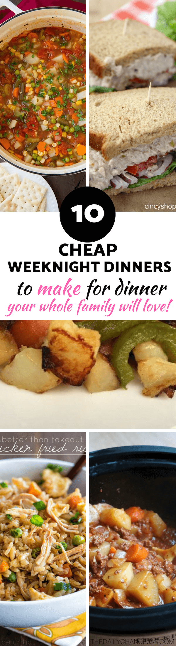 10 Cheap weeknight dinners to make for dinner that your whole family will love. Food makes up a lot of our budgets. But what do you do when money is really tight? Here are 10 frugal meals to make when you're broke. #frugalmeals #frugalmealshealthy #frugalmealsforfour #frugalmealsfortwo #frugalmealsforlargefamilies #frugalmealsandsnacks #frugaldinners #frugaldinnersfamilies #frugaldinnerssavingmoney #frugaldinnersfor4 #frugaldinnersrecipes #frugaldinnersvegan