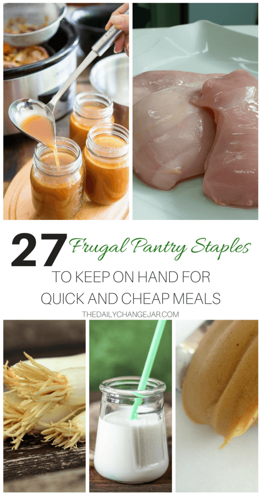 27 Kitchen and Pantry Staples to always have on hand. By keeping these frugal foods on hand, you'll be able to make a variety of frugal meals and always have an inexpensive base of ingredients to use when creating your meal plan! frugal pantry staples, cooking, food, frugal pantry ideas, how to build a frugal pantry, meal ideas, gluten-free, saving money, grocery budget, freezer meals, easy recipes, dinners