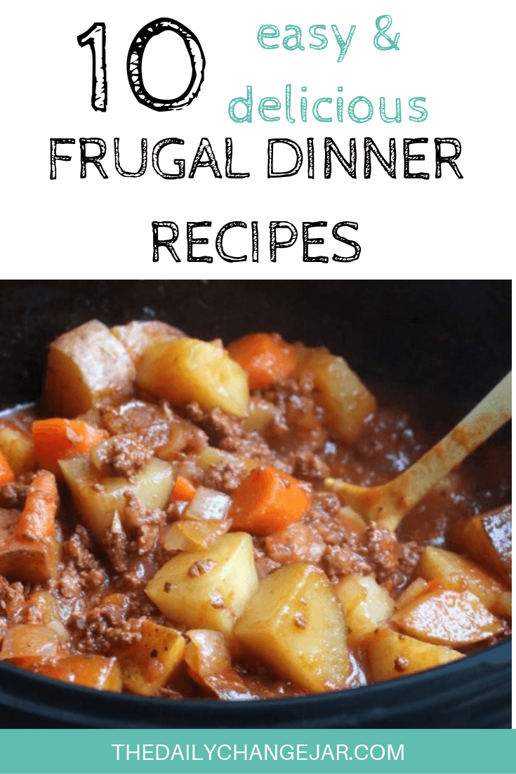 10 easy and delicious frugal dinner recipes-poor mans stew. Food makes up a lot of our budgets. But what do you do when money is really tight? Here are 10 frugal meals to make when you're broke. #frugalmeals #frugalmealshealthy #frugalmealsforfour #frugalmealsfortwo #frugalmealsforlargefamilies #frugalmealsandsnacks #frugaldinners #frugaldinnersfamilies #frugaldinnerssavingmoney #frugaldinnersfor4 #frugaldinnersrecipes #frugaldinnersvegan