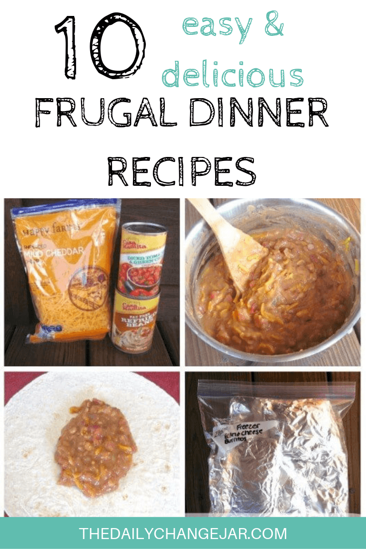 10 easy and delicious frugal dinner recipes-freezer bean burritos. Food makes up a lot of our budgets. But what do you do when money is really tight? Here are 10 frugal meals to make when you're broke. #frugalmeals #frugalmealshealthy #frugalmealsforfour #frugalmealsfortwo #frugalmealsforlargefamilies #frugalmealsandsnacks #frugaldinners #frugaldinnersfamilies #frugaldinnerssavingmoney #frugaldinnersfor4 #frugaldinnersrecipes #frugaldinnersvegan