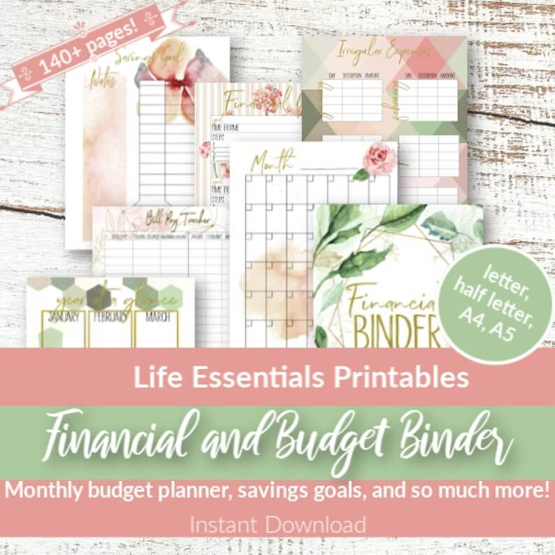 financial binder etsy image