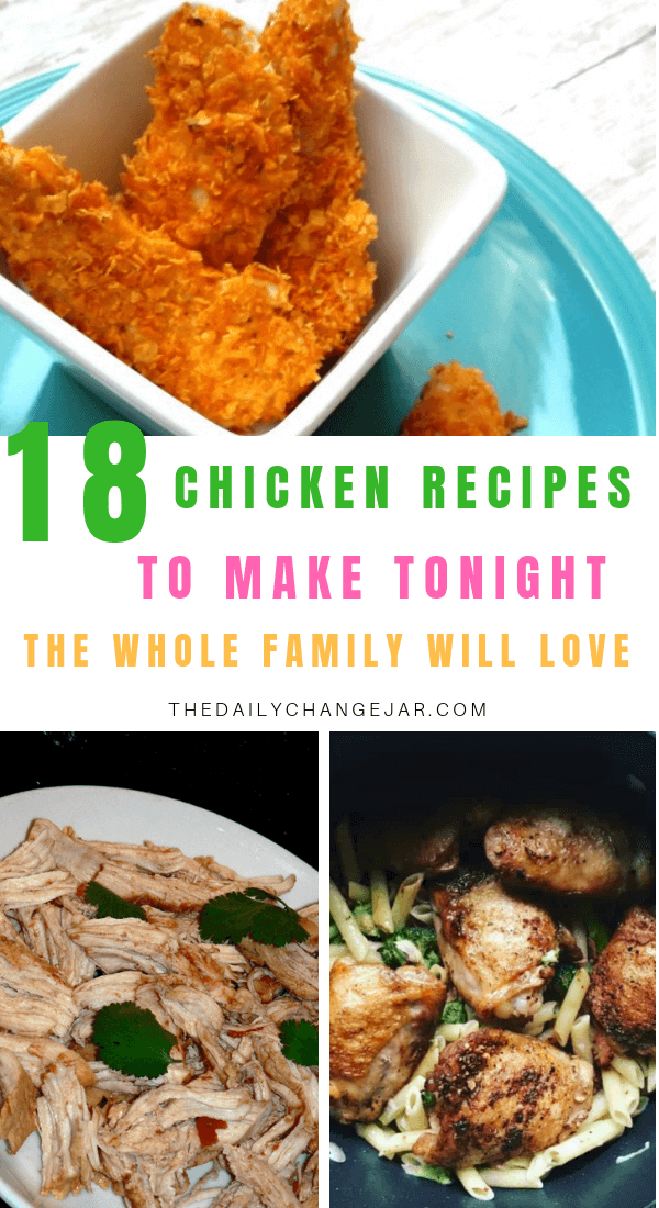 18 chicken recipes to make tonight the whole family will love. Food makes up a lot of our budgets. But what do you do when money is really tight? Here are 18 frugal chicken dinners to make when you're broke. #frugalmeals #frugalmealshealthy #frugalmealsforlargefamilies #frugalmealsfortwo #frugalmealsfromscratch #frugalmealsforfour #frugalmealsgroceriesbudget #easyfrugalmeals #frugalmealswithchicken #crockpotfrugalmeals #instantpotfrugalmeals
