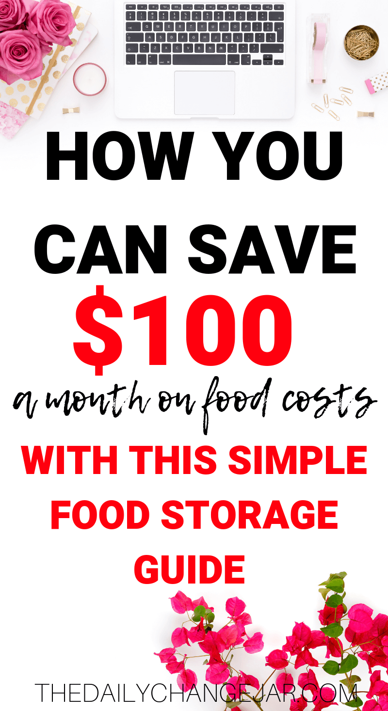 How to save $100 a month on food costs with the simple food storage guide. Don't waste your hard earned money on food, prevent food spoilage with this handy chart! #preventfoodspoilage #savemoneyongroceries #frugalmeals #mealplanning #properfoodstorage #preventingspoilage #howtostorefruitsandvegetables