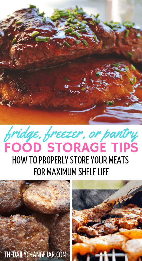 Fridge, freezer, or pantry, food storage tips, how to properly store your meats for maximum shelf life. Don't waste your hard earned money on food, prevent food spoilage with this handy chart! #preventfoodspoilage #savemoneyongroceries #frugalmeals #mealplanning #properfoodstorage #preventingspoilage #howtostorefruitsandvegetables