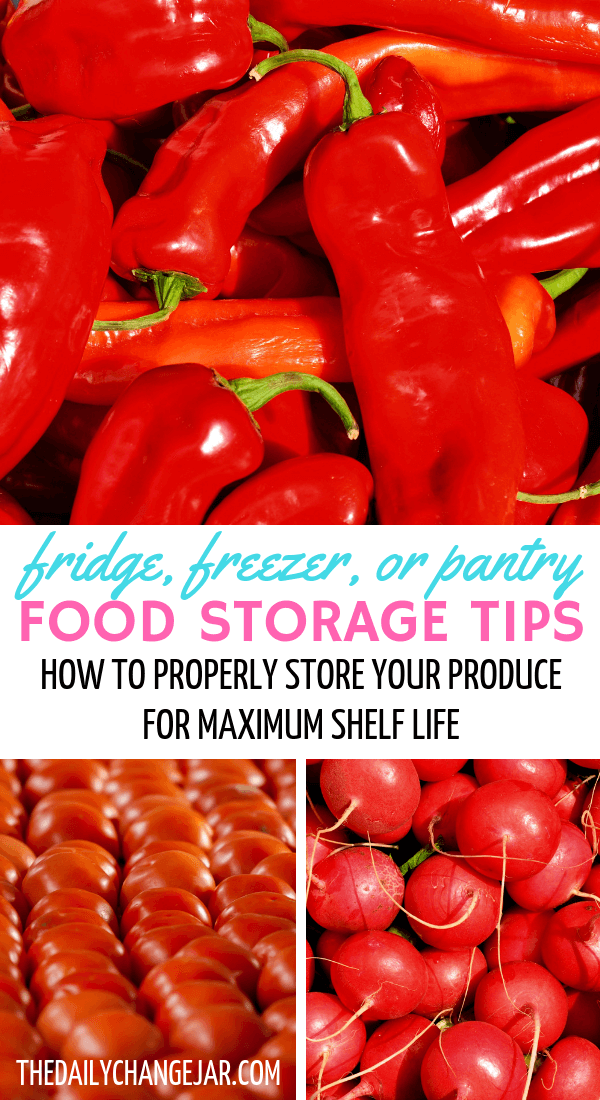 Fridge, freezer, or pantry, food storage tips, how to properly store your produce for maximum shelf life. Don't waste your hard earned money on food, prevent food spoilage with this handy chart! #preventfoodspoilage #savemoneyongroceries #frugalmeals #mealplanning #properfoodstorage #preventingspoilage #howtostorefruitsandvegetables