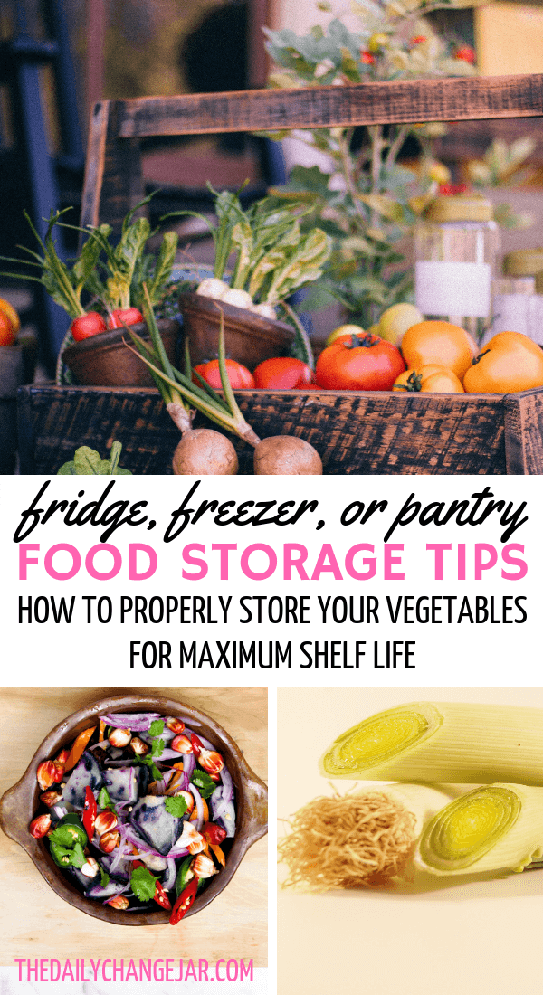 Fridge, freezer, or pantry, food storage tips, how to properly store your vegetables for maximum shelf life. Don't waste your hard earned money on food, prevent food spoilage with this handy chart! #preventfoodspoilage #savemoneyongroceries #frugalmeals #mealplanning #properfoodstorage #preventingspoilage #howtostorefruitsandvegetables