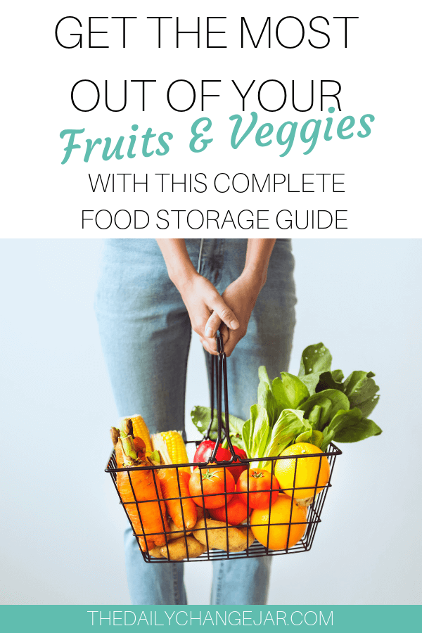 Get the most out of your fruits and vegetables with this complete food storage guide. Don't waste your hard earned money on food, prevent food spoilage with this handy chart! #preventfoodspoilage #savemoneyongroceries #frugalmeals #mealplanning #properfoodstorage #preventingspoilage #howtostorefruitsandvegetables