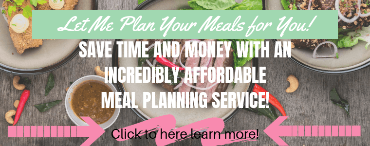 Take the stress and fuss out of meal planning and let me handle it for you. Get meal plans delivered directly to your inbox each week for less than the price of a fancy coffee. #mealplanningservice