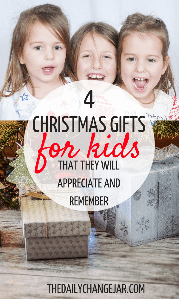 4 Christmas gifts for your kids that they will appreciate and remember. What do you give your kids for Christmas? Don't spoil them with things they will forget about in a few weeks! Click the image to read the post on the ONLY 4 things you should be getting your kids for Christmas that they will love and appreciate. #giftsforkids #christmas #giftgiving #giftchallenge #giftsforboys #giftsforgirls #4giftchallenge #christmasgifts #need #want #read #wear #needwantwearread #educationaltoys #christmasgiftsdiy