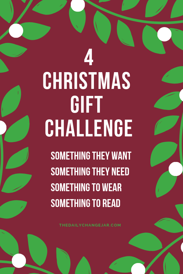 4 christmas gift challenge. What do you give your kids for Christmas? Don't spoil them with things they will forget about in a few weeks! Click the image to read the post on the ONLY 4 things you should be getting your kids for Christmas that they will love and appreciate. #giftsforkids #christmas #giftgiving #giftchallenge #giftsforboys #giftsforgirls #4giftchallenge #christmasgifts #need #want #read #wear #needwantwearread #educationaltoys #christmasgiftsdiy