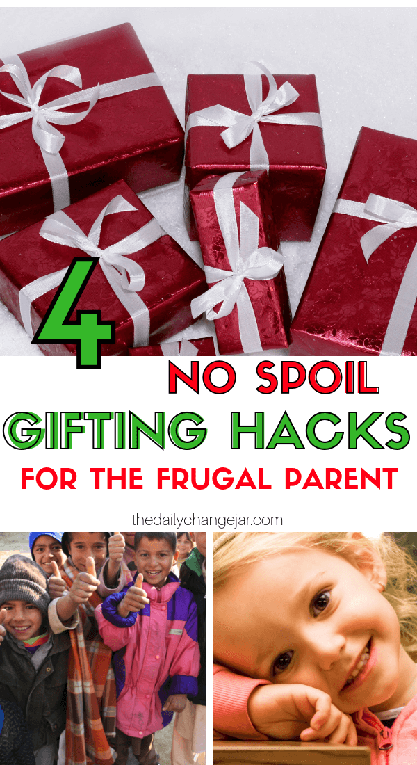 4 no spoil gifting hacks for the frugal parent. What do you give your kids for Christmas? Don't spoil them with things they will forget about in a few weeks! Click the image to read the post on the ONLY 4 things you should be getting your kids for Christmas that they will love and appreciate. #giftsforkids #christmas #giftgiving #giftchallenge #giftsforboys #giftsforgirls #4giftchallenge #christmasgifts #need #want #read #wear #needwantwearread #educationaltoys #christmasgiftsdiy