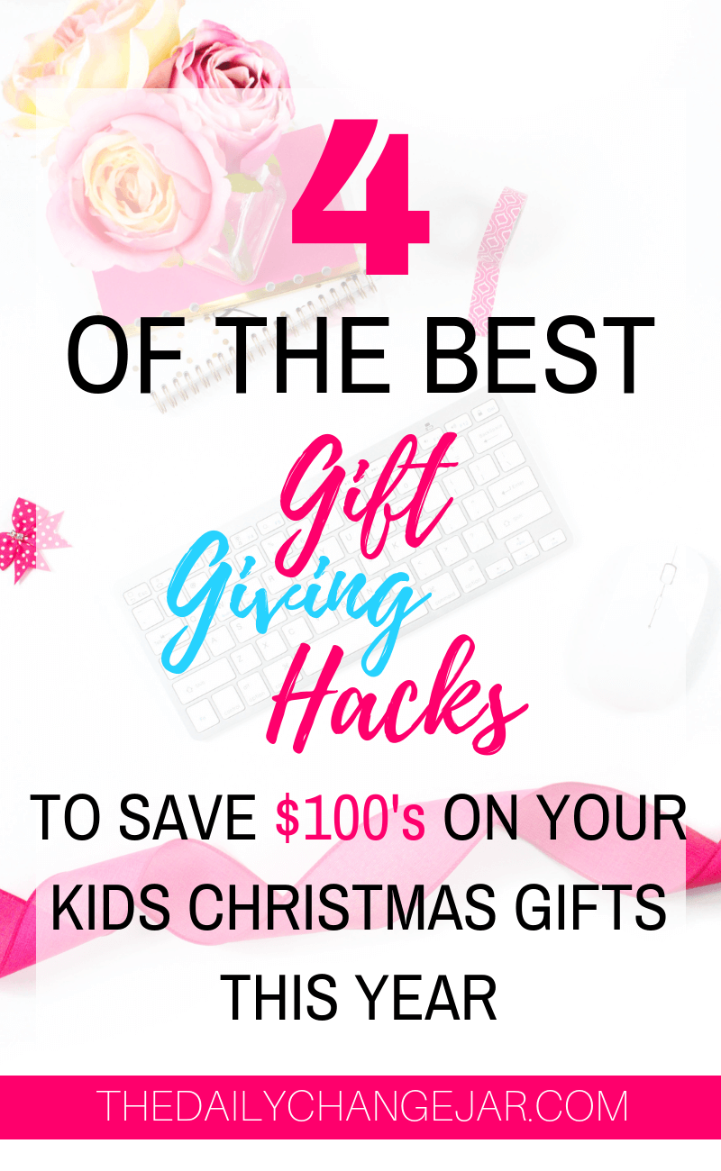 4 of the best gift giving hacks to save $100'2 on your kid christmas gifts this year. What do you give your kids for Christmas? Don't spoil them with things they will forget about in a few weeks! Click the image to read the post on the ONLY 4 things you should be getting your kids for Christmas that they will love and appreciate. #giftsforkids #christmas #giftgiving #giftchallenge #giftsforboys #giftsforgirls #4giftchallenge #christmasgifts #need #want #read #wear #needwantwearread #educationaltoys #christmasgiftsdiy