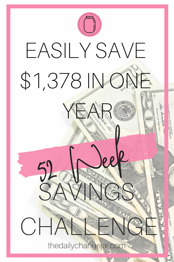 Easily save over $1,000 with this easy to implement 52-week savings challenge you can start today! Each week put aside a little bit to build up your savings. It only takes $1 to start! Click the image to get a free 52-week savings challenge PDF. #52weeksavingschallenge #freeprintable #52weekmoneysavingchallenge #freebudgetprintable #freebudgetingprintable