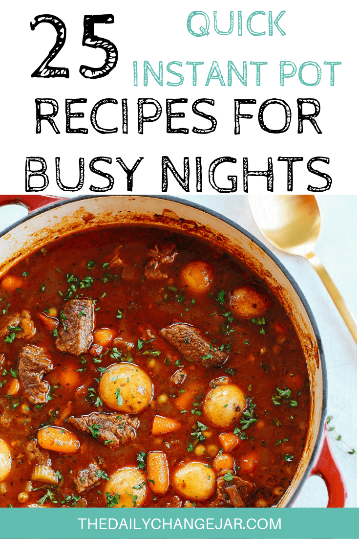 Short on time to make dinner? With a few key kitchen staples, you can whip up these easy Instant Pot dinners in no time! Click to see which 25 of these easy recipes you can make tonight! #instantpotdinnerseasy #howtoinstantpotrecipes #instantpotrecipesforbeginners #instantpotrecipesthatarekidfriendly #instantpotstew #beefandpotatostew #beefstew #instantpotrecipesdinner #instantpotrecipesdump #instantpotrecipesonepot #instantpotrecipesonabudget #instantpotrecipesmaindish #instantpotrecipesofficial #quickandeasyrecipes