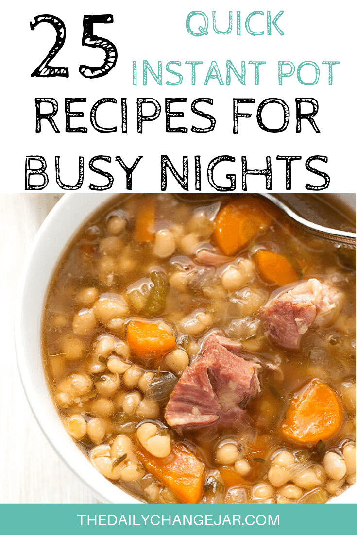 Short on time to make dinner? With a few key kitchen staples, you can whip up these easy Instant Pot dinners in no time! Click to see which 25 of these easy recipes you can make tonight! #instantpotdinnerseasy #howtoinstantpotrecipes #instantpotrecipesforbeginners #instantpotrecipesthatarekidfriendly #instantpotsoup #hamandbeansoup #instantpotrecipesdinner #instantpotrecipesdump #instantpotrecipesonepot #instantpotrecipesonabudget #instantpotrecipesmaindish #instantpotrecipesofficial #quickandeasyrecipes
