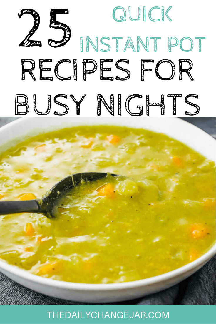 Short on time to make dinner? With a few key kitchen staples, you can whip up these easy Instant Pot dinners in no time! Click to see which 25 of these easy recipes you can make tonight! #instantpotdinnerseasy #howtoinstantpotrecipes #instantpotrecipesforbeginners #instantpotrecipesthatarekidfriendly #instantpotsouprecipe #splitpeasoup #instantpotrecipesdinner #instantpotrecipesdump #instantpotrecipesonepot #instantpotrecipesonabudget #instantpotrecipesmaindish #instantpotrecipesofficial #quickandeasyrecipes