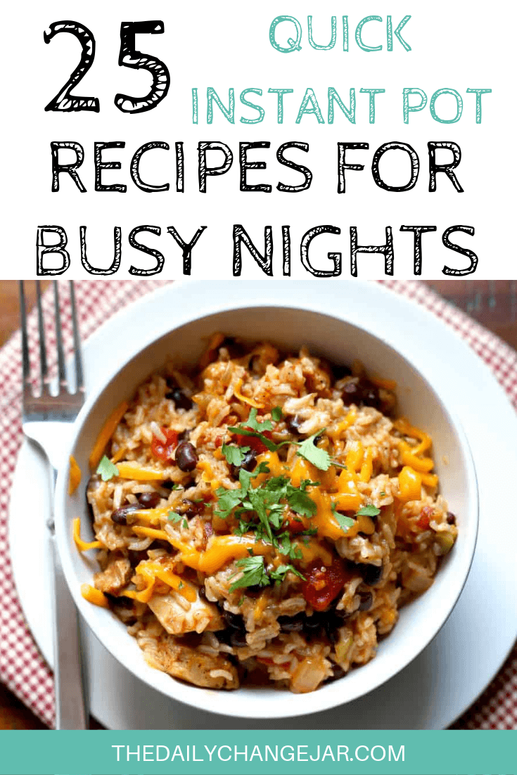Short on time to make dinner? With a few key kitchen staples, you can whip up these easy Instant Pot dinners in no time! Click to see which 25 of these easy recipes you can make tonight! #instantpotdinnerseasy #howtoinstantpotrecipes #instantpotrecipesforbeginners #instantpotrecipesthatarekidfriendly #instantpotrice #chickenblackbeanrice #burritobowl #instantpotrecipesdinner #instantpotrecipesdump #instantpotrecipesonepot #instantpotrecipesonabudget #instantpotrecipesmaindish #instantpotrecipesofficial #quickandeasyrecipes