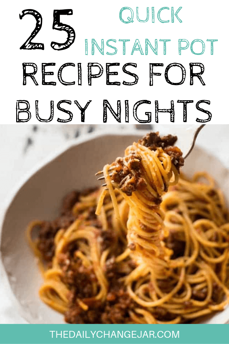 Short on time to make dinner? With a few key kitchen staples, you can whip up these easy Instant Pot dinners in no time! Click to see which 25 of these easy recipes you can make tonight! #instantpotdinnerseasy #howtoinstantpotrecipes #instantpotrecipesforbeginners #instantpotrecipesthatarekidfriendly #instantpotspaghetti #bolognesesauce #instantpotrecipesdinner #instantpotrecipesdump #instantpotrecipesonepot #instantpotrecipesonabudget #instantpotrecipesmaindish #instantpotrecipesofficial #quickandeasyrecipes