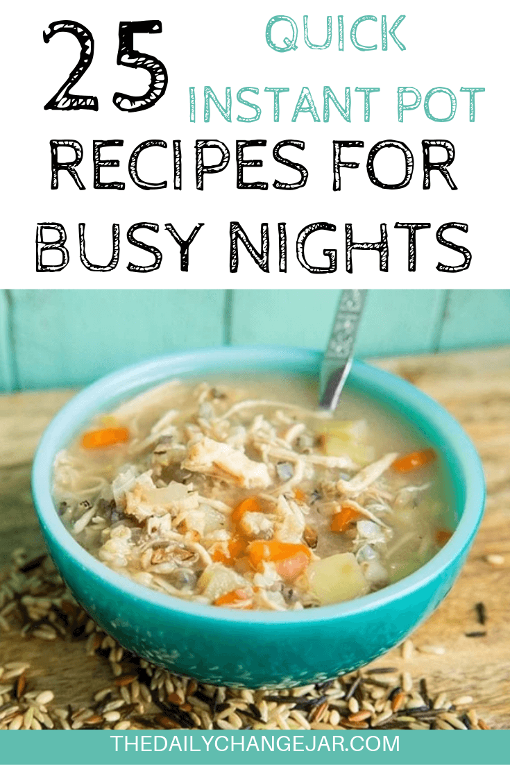 Short on time to make dinner? With a few key kitchen staples, you can whip up these easy Instant Pot dinners in no time! Click to see which 25 of these easy recipes you can make tonight! #instantpotdinnerseasy #howtoinstantpotrecipes #instantpotrecipesforbeginners #instantpotrecipesthatarekidfriendly #instantpotsoup #chickenandwildricesoup #instantpotrecipesdinner #instantpotrecipesdump #instantpotrecipesonepot #instantpotrecipesonabudget #instantpotrecipesmaindish #instantpotrecipesofficial #quickandeasyrecipes