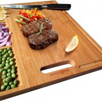 Large Organic Bamboo Cutting Board For Kitchen, With 3 Built-In Compartments And Juice Grooves