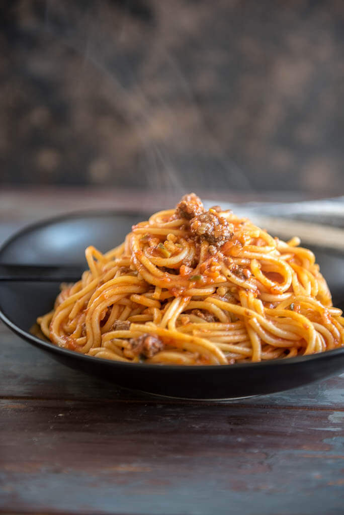 Veggie Packed Instant Pot Spaghetti with Meat Sauce