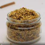 small mason jar with pumpkin spice granola